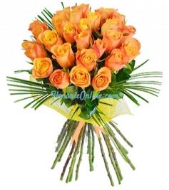 Buchet 27 trandafiri portocalii