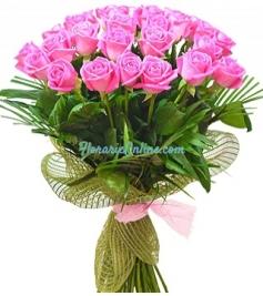 Buchet 27 trandafiri roz