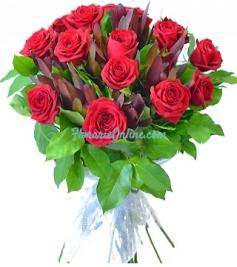 Buchet trandafiri si leucadendron
