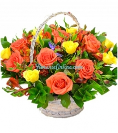 Cos trandafiri si alstroemeria
