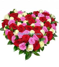 Inima trandafiri multicolori