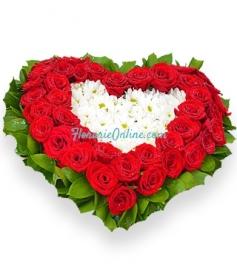 Inima trandafiri si crizanteme